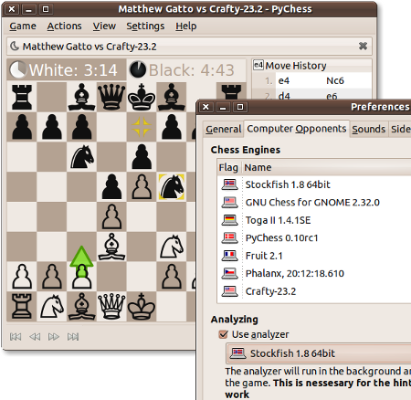 Screenshot showing a human vs. computer game in PyChess with a preferences dialog showing a list of detected chess engines