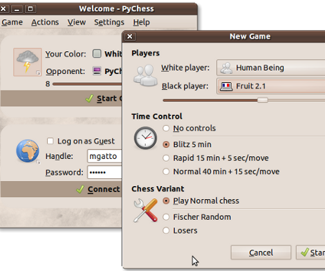 Screenshot showing the PyChess - Welcome screen along with a New Game dialog